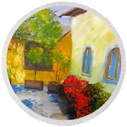 Round Beach Towel featuring the painting Tuscany Courtyard 2 by Pamela  Meredith