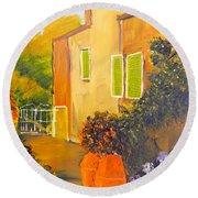 Round Beach Towel featuring the painting Tuscany Courtyard by Pamela  Meredith