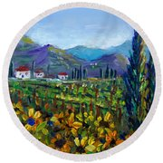 Round Beach Towel featuring the painting Tuscany Sunflowers Miniature by Lou Ann Bagnall