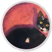 Tux Round Beach Towel by Blue Sky