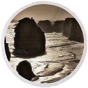 Twelve Apostles #3 - Black And White Round Beach Towel