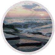Twilight At Cape May In October Round Beach Towel