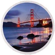 Twilight - Beautiful Sunset View Of The Golden Gate Bridge From Marshalls Beach. Round Beach Towel