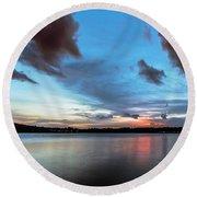 Twilight On Lake Lanier Round Beach Towel