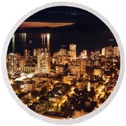 Round Beach Towel featuring the photograph Twilight English Bay Vancouver Mdlxvii by Amyn Nasser