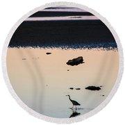 Twilight Heron Round Beach Towel