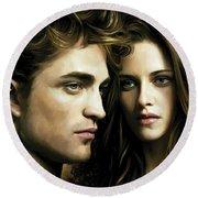 Round Beach Towel featuring the painting Twilight  Kristen Stewart And Robert Pattinson Artwork 4 by Sheraz A