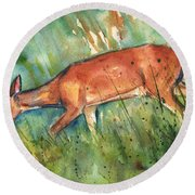Twilight Round Beach Towel by Maria's Watercolor