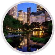 Twilight Nyc Round Beach Towel