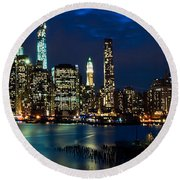 Twilight Nyc Panorama Round Beach Towel