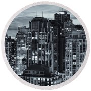 Round Beach Towel featuring the photograph Twilight On Cityscape Of Vancouver Overlooking English Bay - Greeting Card by Amyn Nasser