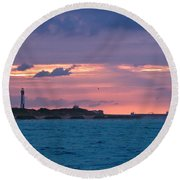 Twilight Over Cape Henry Round Beach Towel