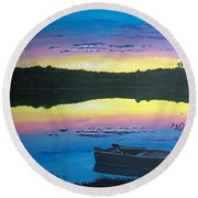 Twilight Quiet Time Round Beach Towel