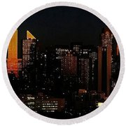 Round Beach Towel featuring the photograph Twilight Reflections On New York City by Lilliana Mendez