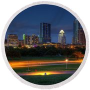 Round Beach Towel featuring the photograph Twilight Skyline by Dave Files