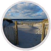 Round Beach Towel featuring the photograph Golden Hour Beach by Dianne Cowen