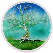 Twilight Tree Round Beach Towel