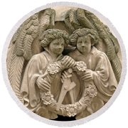 Twin Angels Round Beach Towel