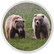 Twin Bear Cubs Round Beach Towel