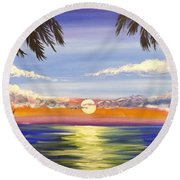 Round Beach Towel featuring the painting Twin Palms by Darren Robinson