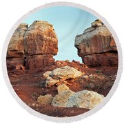 Twin Rocks At Sunrise Capitol Reef National Park Round Beach Towel