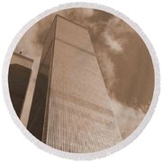 Twin Tower Round Beach Towel