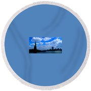 Twin Towers In Heaven's Sky - Remembering 9/11 Round Beach Towel