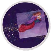 twinkling Angel with star Round Beach Towel