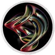 Twisted Abstract 2 Round Beach Towel by Greg Moores