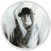 Anthony Kiedis - ' Twisting And Turning Your Feelings Are Burning ' Round Beach Towel by Christian Chapman Art