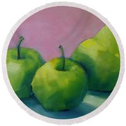Two Apples And One Pear Round Beach Towel