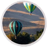 Two Balloons In Morning Sunshine Round Beach Towel