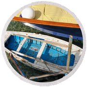 Two Boats Round Beach Towel by Mike Ste Marie