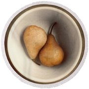 Two Bosc Pears Still Life In Warm Tones Round Beach Towel by Louise Kumpf