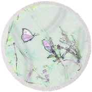 Round Beach Towel featuring the photograph Two Butterflies by Patricia Griffin Brett