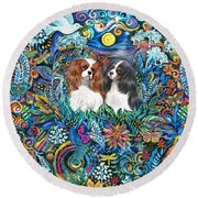 Two Cavaliers In A Garden Round Beach Towel