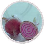 Two Chioggia Beets Round Beach Towel