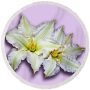 Two Clematis Flowers On Pale Purple Round Beach Towel by Jane McIlroy