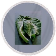 Two Collard Leaves Round Beach Towel