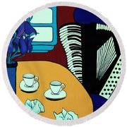 Round Beach Towel featuring the painting Two Cups One Accordian by Barbara McMahon
