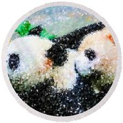 Round Beach Towel featuring the digital art Two Cute Panda by Lanjee Chee