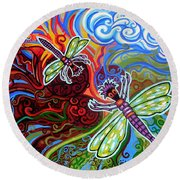 Two Dragonflies Round Beach Towel