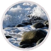 Two Elements Round Beach Towel by Jola Martysz