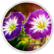 Two Eyes Of Heaven Round Beach Towel by Lilia D