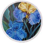 Round Beach Towel featuring the painting Two Fancy Iris by Jenny Lee