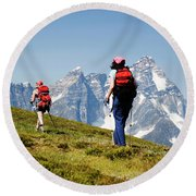 Two Female Hikers In The Selkirk Round Beach Towel