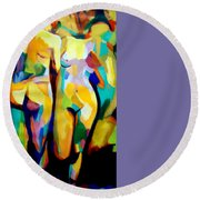 Round Beach Towel featuring the painting Two Nudes by Helena Wierzbicki