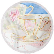 Two For Tea Round Beach Towel by Laurel Best