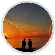 Two Friends Enjoying A Sunset Round Beach Towel