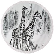 Round Beach Towel featuring the drawing Two Giraffe's In Graphite by Janice Rae Pariza